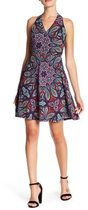 London Times Patterned Halter Fit & Flare Dress (Petite)