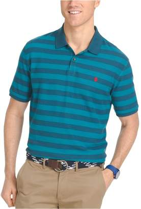 Izod Mens Pique Knit Rugby Polo Shirt L