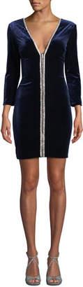 Jovani Long-Sleeve Velvet Mini Dress w/ Zippers