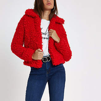 River Island Womens Red shearling faux fur cropped jacket