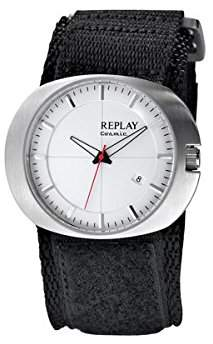 Replay Re-Play RX5203AH Men's Black Velcro Strap Watch with Dial and Date Function