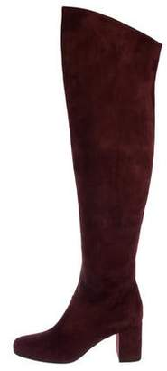 Saint Laurent Suede Over-The-Knee Boots