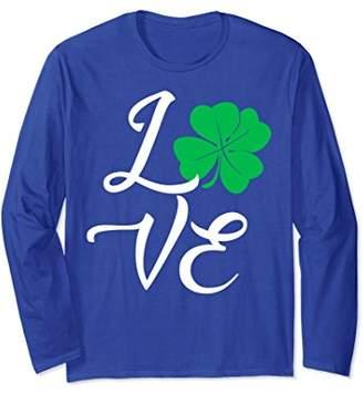 Love Shamrock Clover Long Sleeve Graphic T Shirt