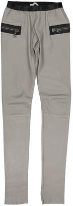 Les Chiffoniers Grey Leather Trousers for Women
