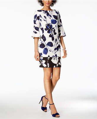 Vince Camuto Floral Printed Bell-Sleeve Sheath Dress