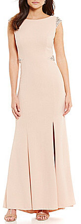 Adrianna PapellAdrianna Papell Knit Crepe Cap Sleeve Beaded Mermaid Gown