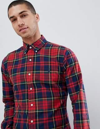 44c4ea8a Polo Ralph Lauren slim fit tartan check oxford shirt player logo button  down in red
