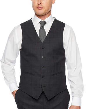 Claiborne Windowpane Classic Fit Stretch Suit Vest