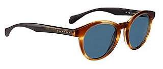 HUGO BOSS Round-framed sunglasses with wood trim