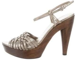 Miu Miu Basket Weave Leather Sandals