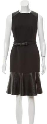 Magaschoni Faux Leather-Accented Textured Dress
