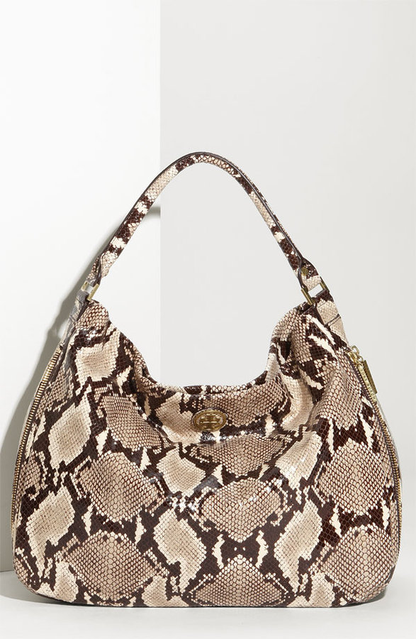 Tory Burch 'Kellan' Python Embossed Glazed Leather Hobo