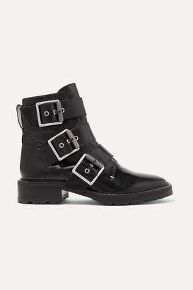 Rag & Bone Cannon Buckled Glossed-leather Ankle Boots - Black