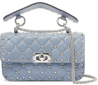 Valentino - Matelassé Small Embellished Quilted Leather Shoulder Bag - Gray $2,195 thestylecure.com