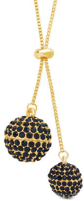Sterling Forever 14K Plated Cz Double Sphere Lariat Necklace