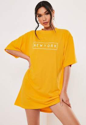 9014ec904a1c7 Missguided Yellow Oversized New York T Shirt Dress