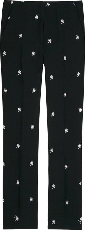 Miu Miu Flower Print Silk Trousers