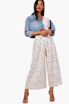 boohoo Woven Pleated Polka Dot Culottes