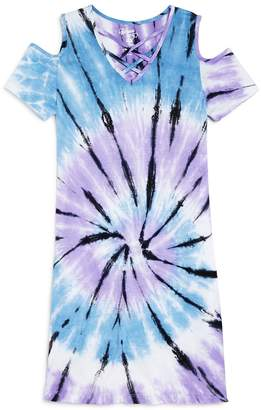 Flowers by Zoe Girls' Cold-Shoulder Tie-Dye Shirt Dress