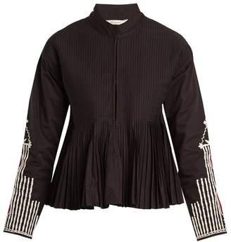 Mes Demoiselles Artemis Stand Collar Embroidered Pleated Jacket - Womens - Black