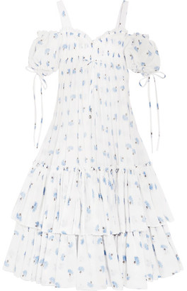 Alexander McQueen - Cold-shoulder Tiered Floral-print Cotton-voile Maxi Dress - Ivory $5,085 thestylecure.com
