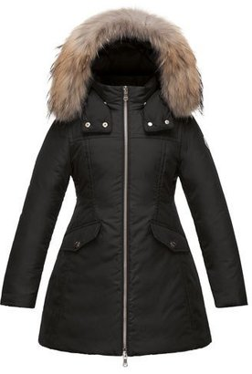 Moncler Obax Hooded Down Coat, Black, Size 8-14 $980 thestylecure.com