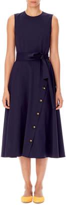 Carolina Herrera Sleeveless Tie-Waist A-Line Midi Dress