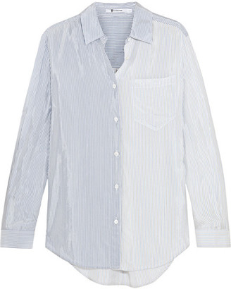 T by Alexander Wang - Striped Satin Shirt - Blue $300 thestylecure.com