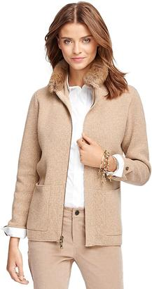 Saxxon Wool Cardigan with Fur Collar $598 thestylecure.com
