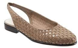 Trotters Lucy Leather and Suede Woven Slingback Flats