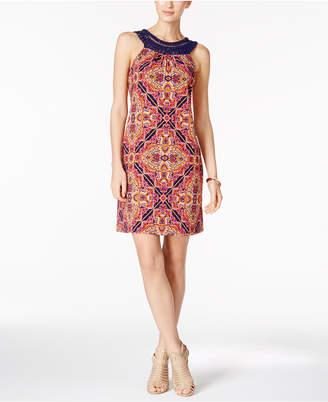Jessica Howard Printed Crochet-Trim Dress $79 thestylecure.com