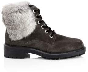 Aquatalia Lacy Rabbit Fur and Shearling-Lined Combat Boots