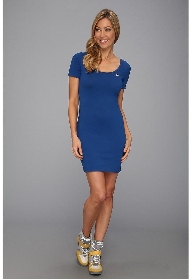 Lacoste L!VE S/S Solid Scoopneck Dress (Heritage Blue) - Apparel