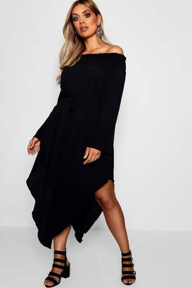 boohoo Plus Esme Sheered off The Shoulder Skater Dress