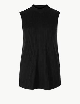 Marks and Spencer Ribbed Funnel Neck Longline Tank Top