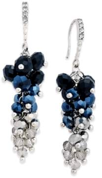INC International Concepts I.n.c. Silver-Tone Blue Stone and Crystal Cluster Drop Earrings, Created for Macy's