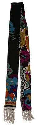 Etro Printed Fringe-Trimmed Scarf w/ Tags
