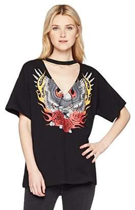 Hayden Rose Young Women's Teen Boxy Choker Neck Eagle Printed T-Shirt