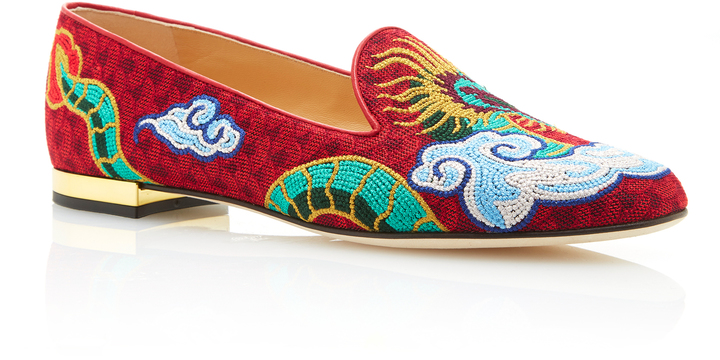 Charlotte Olympia Charlotte Olympia M'O Exclusive: Dragon Embroidered Canvas Slippers