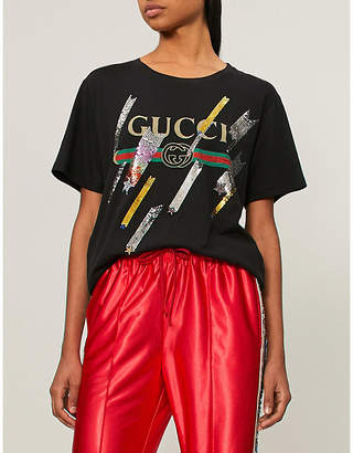 Gucci Logo shooting stars embellished cotton-jersey T-shirt