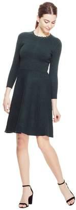 Lela Rose Intarsia Detail Knit Full Skirt Dress