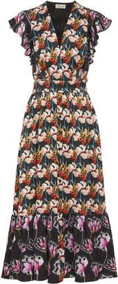 Temperley London Dragonfly Printed Crepe Midi Dress Size: 8