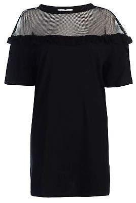 Glamorous Womens Mesh Frill Dress Mini Short Sleeve Round Neck Lightweight