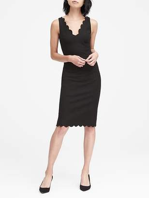 Banana Republic Scalloped Bi-Stretch Sheath Dress