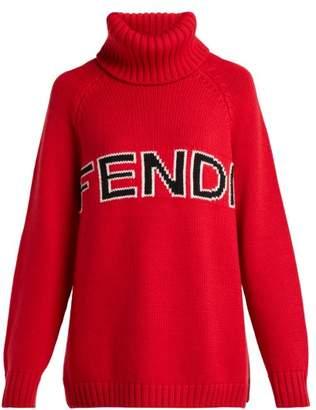 Fendi Logo Intarsia Wool Roll Neck Sweater - Womens - Red
