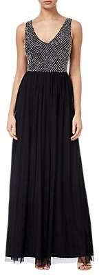 Adrianna Papell Beaded Long Dress, Black/Ivory