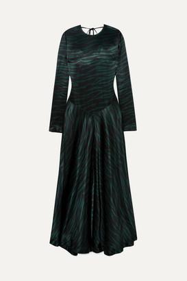Ganni Cameron Printed Satin Maxi Dress - Black