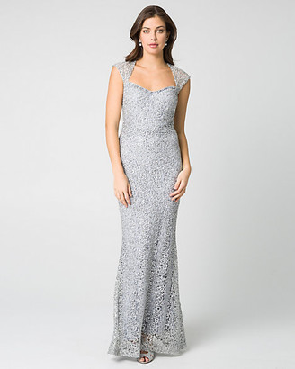 Le Château Lace & Sequin Square Neck Gown