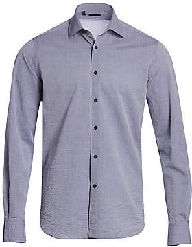 Saks Fifth Avenue Seersucker Stripe Cashmere Shirt