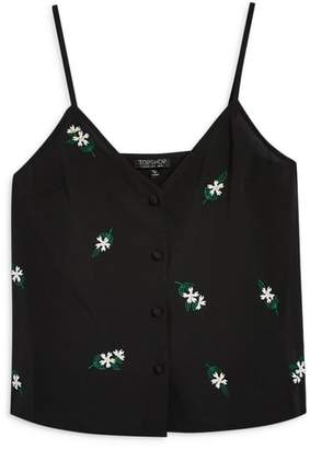 Topshop Button Embellished Camisole Top